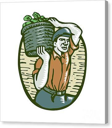 Organic Farmer Harvest Basket Woodcut Linocut Canvas Print