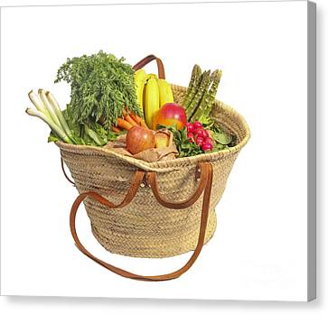 Organic Fruit And Vegetables In Shopping Bag Canvas Print by Patricia Hofmeester