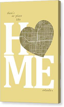 Orlando Street Map Home Heart - Orlando Florida Road Map In A He Canvas Print by Jurq Studio