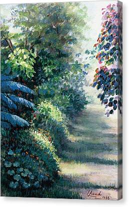 Canvas Print featuring the painting Our Garden by Laila Awad Jamaleldin