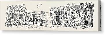 Our Great Football Match, Pelicans Versus Phantoms Canvas Print by English School