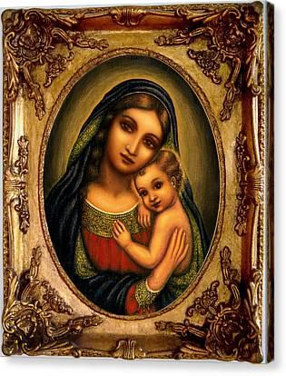 Madonna Canvas Print - Oval Madonna  by Ananda Vdovic