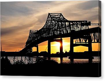 Over The Mississippi Canvas Print by Charlotte Schafer