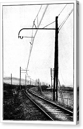 Overhead Train Power Lines Canvas Print by Science Photo Library