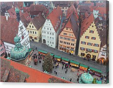 Overhead View Of The Christmas Market Canvas Print