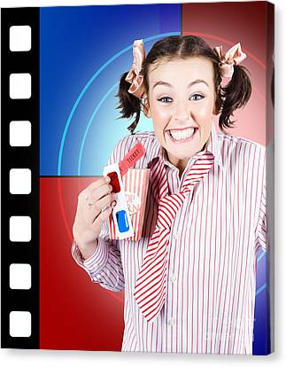 Overjoyed Nerd Woman At 3d Movie Premier Canvas Print by Jorgo Photography - Wall Art Gallery