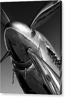 Black And White Canvas Print - P-51 Mustang by John Hamlon
