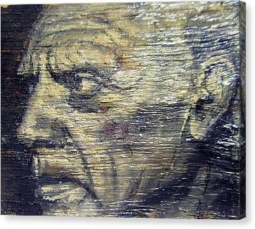 Pablo Picasso Face Portrait - Painting On The Wood Canvas Print by Nenad Cerovic