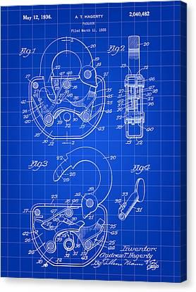 Padlock Patent 1935 - Blue Canvas Print