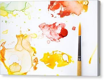 Paint Splatters And Paint Brush Canvas Print by Chris Knorr