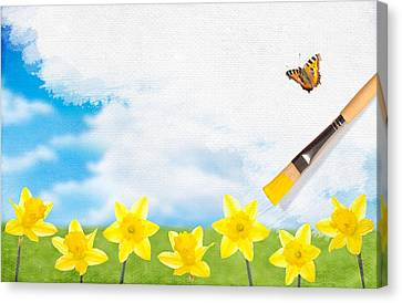 Painting Daffodils Canvas Print by Amanda Elwell