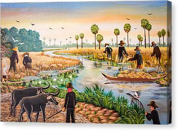 Painting Wall Thai And Asia Culture In Thai Temple Canvas Print by Manun Ngueampha