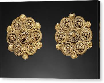Pair Of Disk Earrings Unknown Etruria Late 6th Century B Canvas Print by Litz Collection