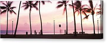 Palm Trees On The Beach, Waikiki Canvas Print by Panoramic Images
