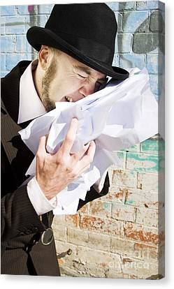 Paperwork Blues Canvas Print by Jorgo Photography - Wall Art Gallery