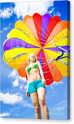 Parasailing On Summer Vacation Canvas Print