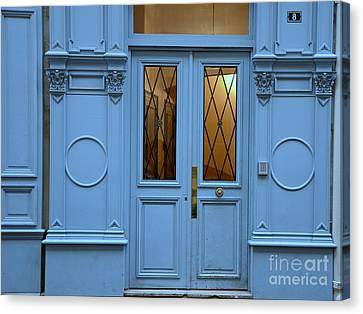 Paris Blue Door - Blue Aqua Romantic Doors Of Paris  - Parisian Doors And Architecture Canvas Print