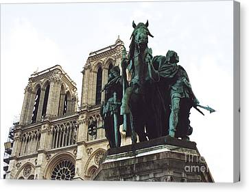 Paris Charlemagne Notre Dame Cathedral Sculpture Monument Landmark - Paris Charlemagne Monument Canvas Print by Kathy Fornal
