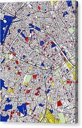 Paris Piet Mondrian Style City Street Map Art Canvas Print by Celestial Images