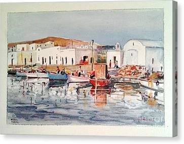 Paros-naousa Canvas Print by George Siaba
