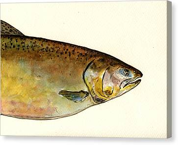 Salmon Canvas Print - 1 Part Chinook King Salmon by Juan  Bosco