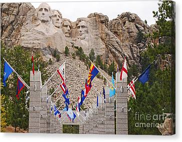 Canvas Print featuring the photograph Patriotic Faces by Mary Carol Story