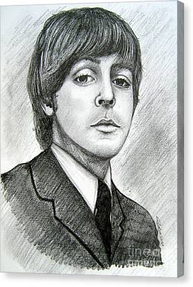 Canvas Print featuring the drawing Paul Mccartney by Patrice Torrillo