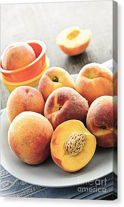 Peaches On Plate Canvas Print