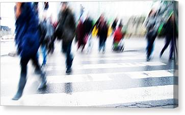 Crosswalk Canvas Print - Pedestrian Crossing Rush. by Michal Bednarek