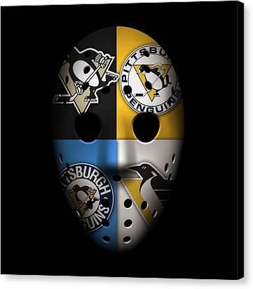 Goalie Canvas Print - Penguins Goalie Mask by Joe Hamilton