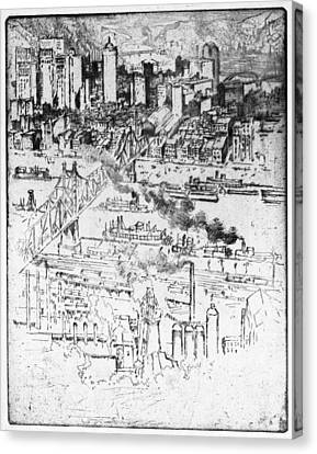 Pennell Pittsburgh, 1909 Canvas Print