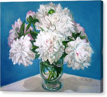Canvas Print featuring the painting Peonies II by Laura Aceto