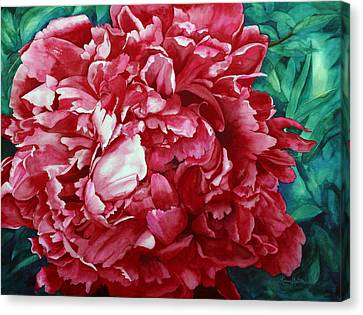 Peony Puzzle Canvas Print by Karen Mattson