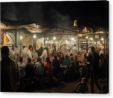 People Eating At One Of The Stalls Canvas Print