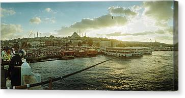Medium Group Of People Canvas Print - People Fishing In The Bosphorus Strait by Panoramic Images