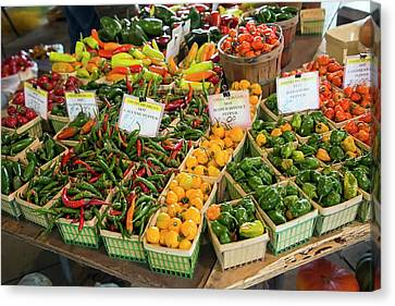 Peppers On A Market Stall Canvas Print