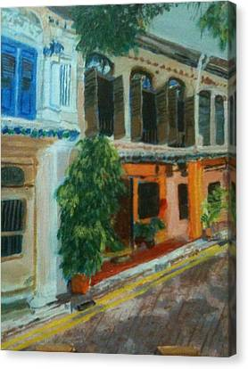 Canvas Print featuring the painting Peranakan House by Belinda Low