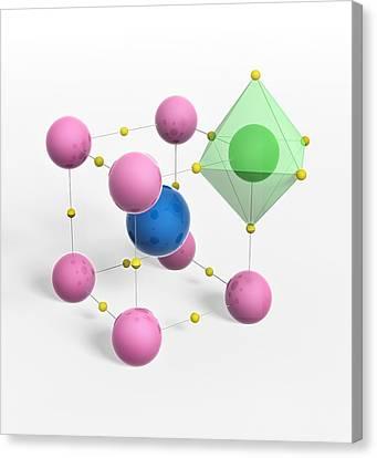 Titanium White Canvas Print - Perovskite Mineral, Molecular Model by Science Photo Library