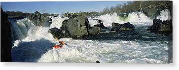 Person Kayaking In A River, Great Canvas Print