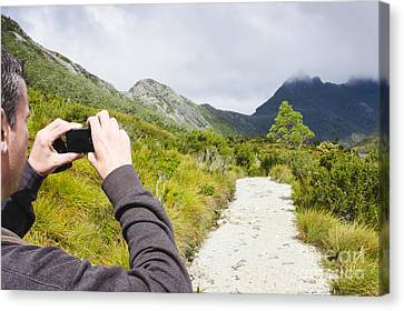 Person On Expedition Tour Of Cradle Mountain Canvas Print by Jorgo Photography - Wall Art Gallery