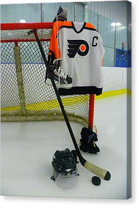 Philadelphia Flyers Away Hockey Jersey Canvas Print by Lisa Wooten