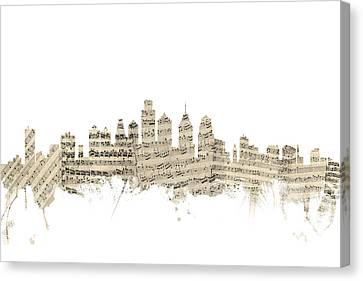 Philadelphia Pennsylvania Skyline Sheet Music Cityscape Canvas Print by Michael Tompsett