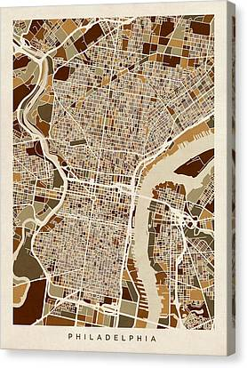 Philadelphia Pennsylvania Street Map Canvas Print