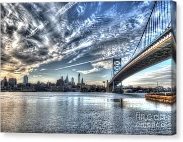 Philadelphia Skyline - Camden View Of Ben Franklin Bridge Canvas Print by Mark Ayzenberg