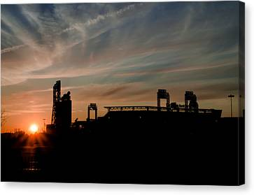 Phillies Stadium At Dawn Canvas Print by Bill Cannon