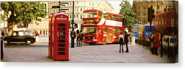 Phone Box, Trafalgar Square Afternoon Canvas Print