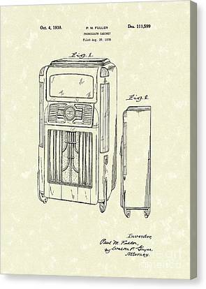 Phonograph Cabinet 1938 Patent Art Canvas Print by Prior Art Design