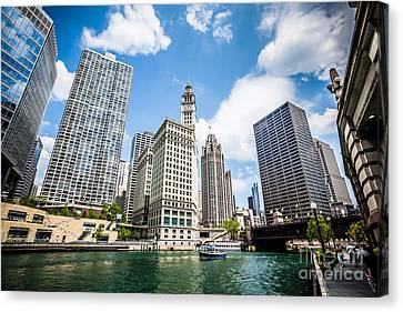 Chicago River Canvas Print - Photo Of Chicago Downtown River Buildings by Paul Velgos