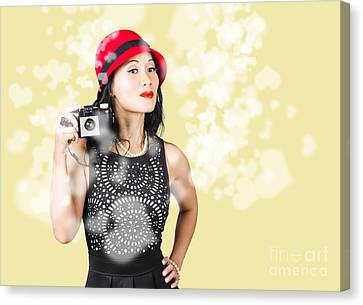 Photographer Taking Photos With Retro Film Camera Canvas Print by Jorgo Photography - Wall Art Gallery