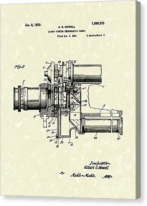 Camera Canvas Print - Photographic Camera 1929 Patent Art by Prior Art Design